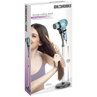 Hair Dryer Styling Stand Holder - Hands Free Hair Drying - Counter or Floor Use