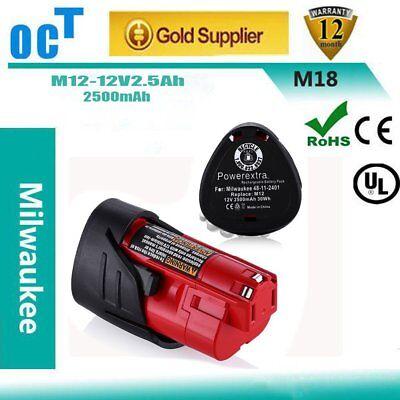 New Genuine Milwaukee 12 Volt 48-11-2402 M12 2.5Ah Red Lithium Ion Batteries JB