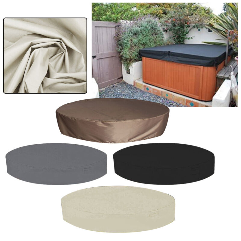 Portable Waterproof Round Solid Anti UV Elastic Bottom Outdoor Spa Hot Tub Cover
