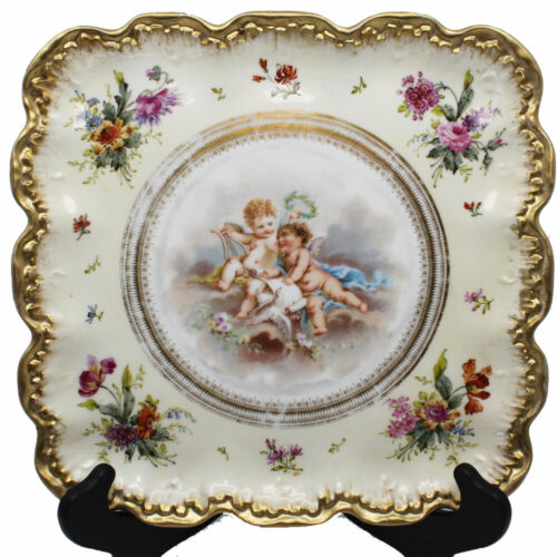 Antique Limoges Square Cabinet Plate Floral Gilt and Cherubs