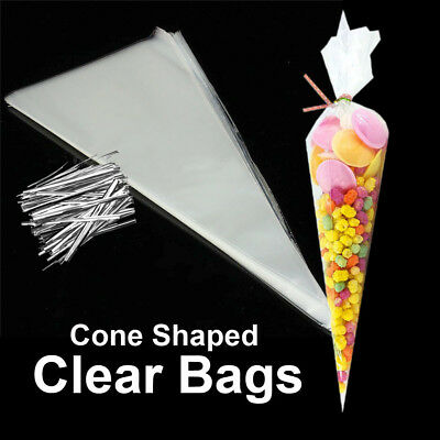 Clear Cone Bags - 100~400 Clear Cone Shaped Cellophane Bags Sweet Candy Party Favor Gift Bags