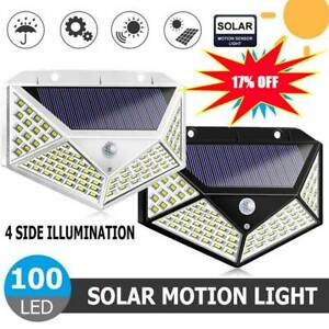 4pcs-100-LED-Solar-Power-Light-PIR-Motion-Sensor-Garden-Security-Wall-Lamp