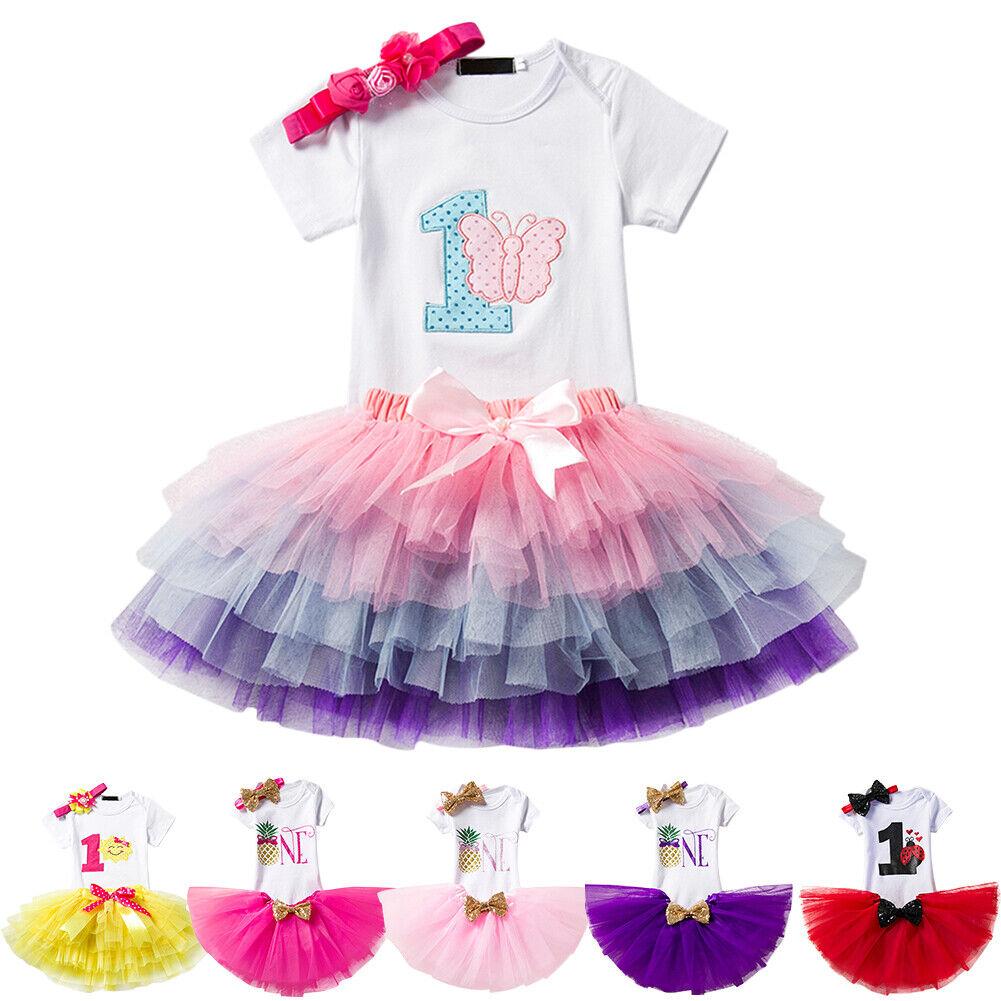 Super Toddler Baby Girl 1St Birthday Cake Smash Outfit Romper Tutu Skirt Personalised Birthday Cards Akebfashionlily Jamesorg