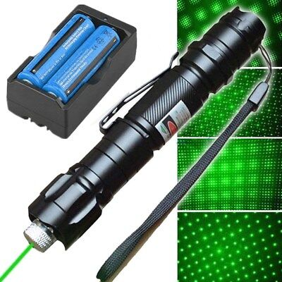 High Power 50Mile 532Nm Green Laser Pointer Pen Star Cap Bright Batt Charger Usa