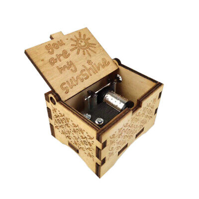 Music Box You are My Sunshine Sun,Wooden Classic Music Box Crafts w Hand Crank