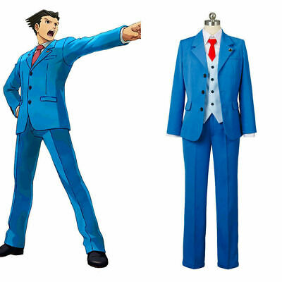Gyakuten Saiban Ace Attorney Phoenix Wright Cosplay Costume Blue Lawyer Suit Ti& (Lawyer Costume)