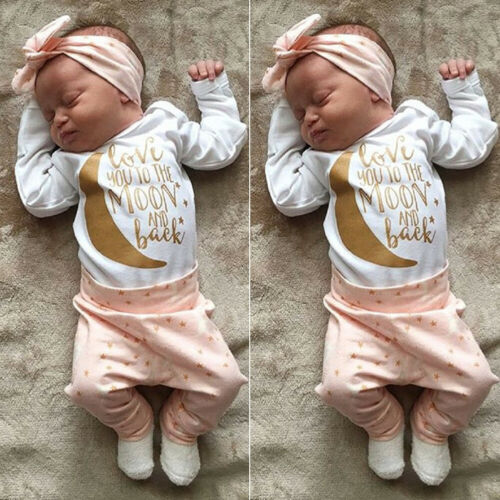 US Newborn Infant Baby Girl Clothes Romper Jumpsuit Bodysuit
