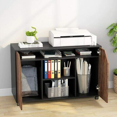 Wood File Cabinet Mobile Lateral Filing Cabinet With Doors And Storage Shelves