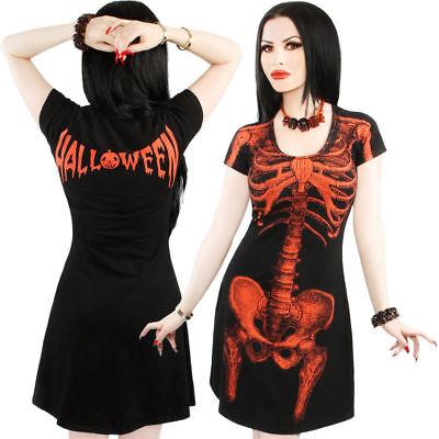 Kreepsville 666 Skeleton Halloween Flare Dress Black/Orange Halloween Bones