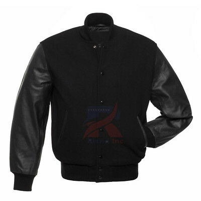 Varsity Solid Black Letterman Baseball University Wool and Faux Leather Sleeves (Letter Man Jacket)