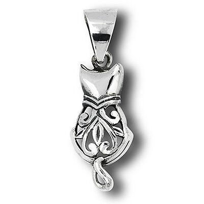 Filigree Cat Pendant .925 Sterling Silver Pet Feline Scroll Animal Heart Charm Sterling Silver Filigree Heart Charm