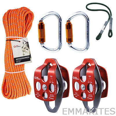 32kn Twin Sheave Block And Tackle Pulley System With 716 Rope And Kits Rigging