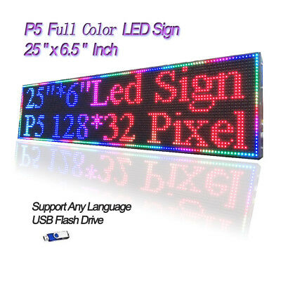 25x 6.5 Rgb Full Color P5 Led Sign Programmable Scrolling Message Display
