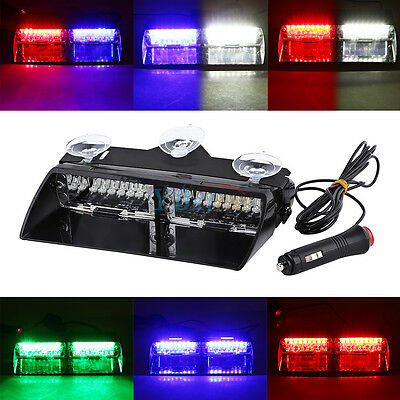 auto 16 led strobe blitzlicht lichtbalken notfall leuchte lampe rot blau blinkt. Black Bedroom Furniture Sets. Home Design Ideas