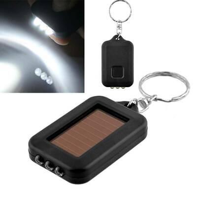 Mini Portable Solar Power 3 LED Light Torch Flashlight Small Keychain Keyring yy ()