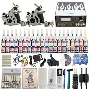 New Starter Tattoo Kit 2 Machine Gun 40 Ink Power Supply Set 50 Needle Grip DJ19