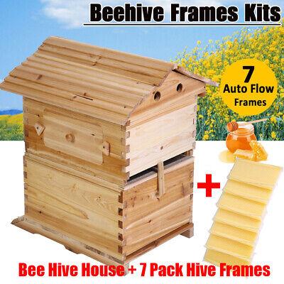 Wooden Beehive Brood Box Case 7pcs Auto Honey Hive Frames Beekeeping Set Us