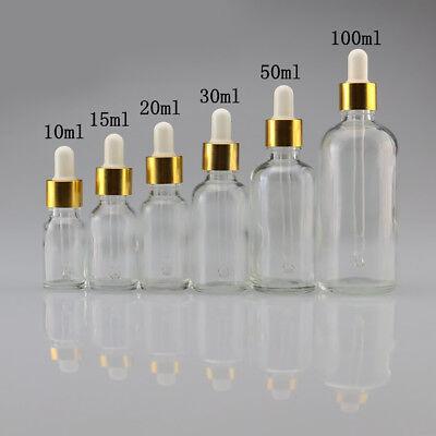 - 5ml-100ml Empty Liquid Bottle Clear Glass Reagent Pipette Dropper Bottles tall