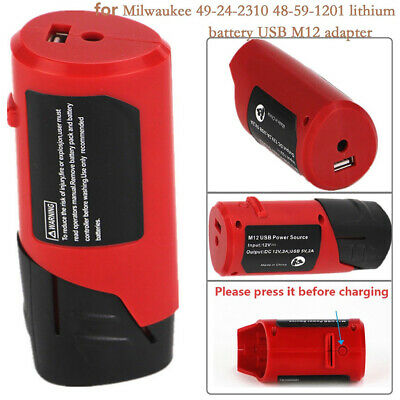 Safe Power Source Usb Adapter Red Tools For Milwaukee Lithium Battery 12v M12