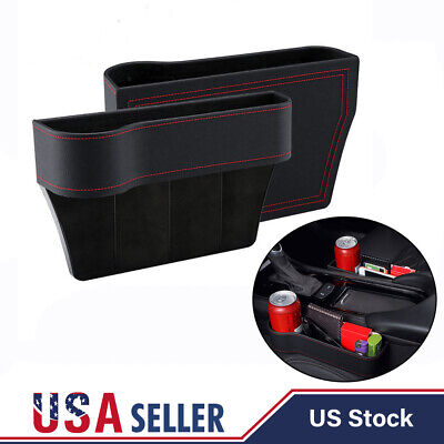 LH+RH Car Seat Storage Box Cup Drink Holder Auto Organizer Gap Pocket Leather, usado comprar usado  Enviando para Brazil