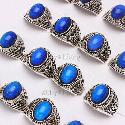 Fashion Color Change Mood Ring Emotion Feeling Oval Stone Rings Random 5Pcs US Mood Stone Rings