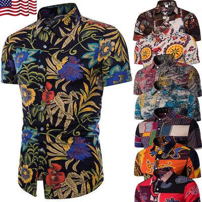 Hawaiian Dresses Shirts (Men's Summer Hawaiian Casual Dress Shirt Men Floral Short Sleeve Shirts Tops)