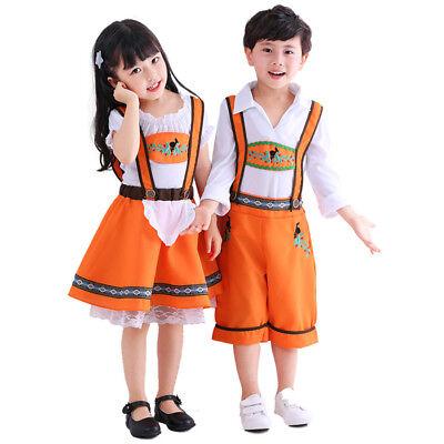 Kinder Dirndl Trachtenkleid Oktoberfest Mädchen Jungen Bayerische Uniform Kostüm ()