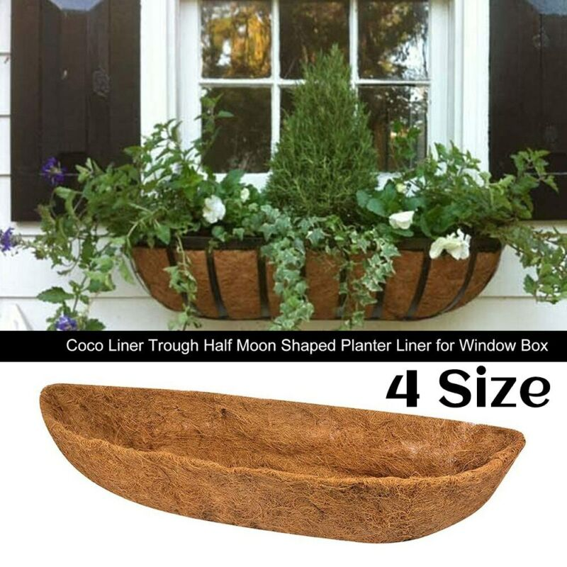 2pcs 28/30/36/48inch Coco Liner Trough Half Moon Shaped Planter Liner For Window