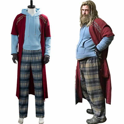 Thor Costume Hoodie (Avengers 4 Endgame Cosplay Fat Thor Costume Outfit Full Set Cape Pants)