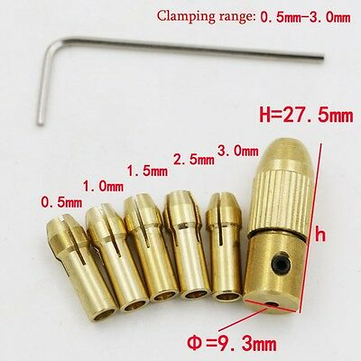 8pc 0.5-3mm Small Hand Electric Drill Collet Set Mini Micro Twist Chuck Tool