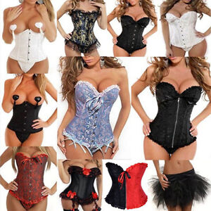 Hot-Sexy-Lace-Up-Boned-Corset-Dress-Bustier-Basque-Lingerie-Thong-Outfit-S-6XL