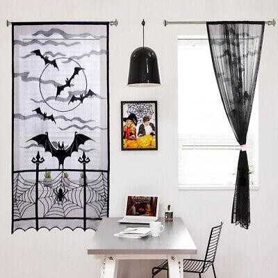 Black Lace Curtains (Black Lace Spiderweb Sheer Door Window Curtain Panel Drape Halloween Home)