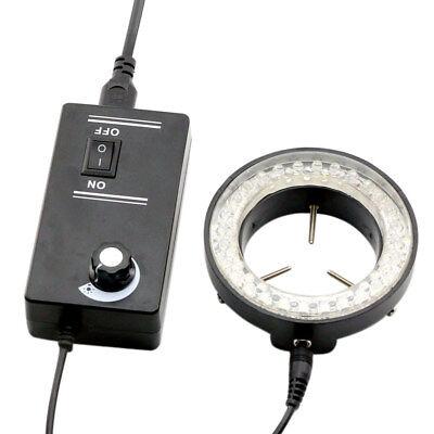 60led Adjustable Ring Light Illuminator Lamp For Stereo Microscope Eu Plug Black