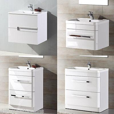 Modern White Gloss Bathroom Vanity Unit Basin Sink Cabinets Furniture Storage