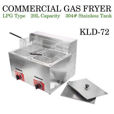 Top Commercial Countertop Gas Fryer 2 Basket Gf-72 Propane Lpg W Metal Tube