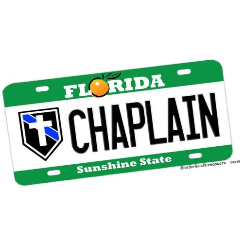 Florida Police Sheriff NOVELTY License Plate - Chaplain with Cross Insignia
