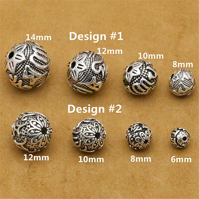 - Sterling Silver Om mani padme hum Round Ball Beads 925 Silver Buddhism Yoga Bead