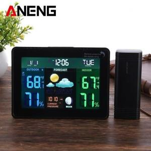 Digital LCD Wireless Weather Station Clock Alarm Electronic Indoor Outdoor Thermometer Hygrometer Calendar Moon Phase Di