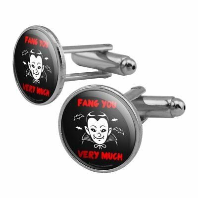 Fang Thank You Very Much Vampire Funny Humor Round Cufflink Set Silver Color