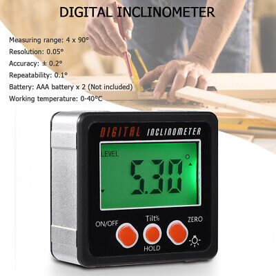Us Digital Lcd Protractor Gauge Level Box Angle Finder Inclinometer Magnet-meter