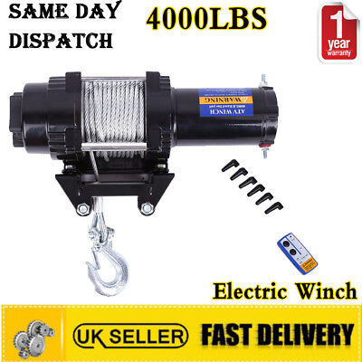 Electric Winch 4000lbs 12V Steel Cable Wireless Remote Car 4x4WD Truck ATV Boat