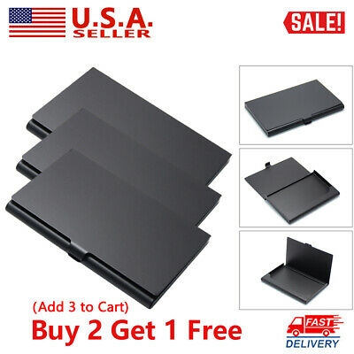 Mens Black Aluminum Alloy Business Card Holder Metal Pocket Name Card Box Wallet