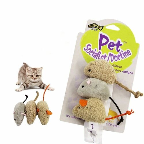 3Pc Vivid Fur False Plush Mouse Pet Kitten Cat Toy Mini Funny Playing Toys Cute