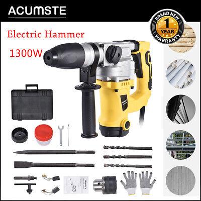 Electric Demolition Jack Hammer Concrete Breaker Punch Chisel Bit 1300w W Case
