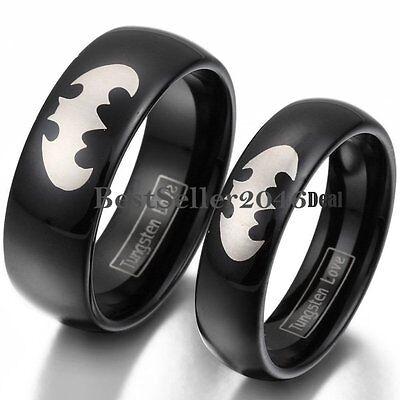 Black Batman Symbol Tungsten Carbide Ring Men Women Engagement Wedding Band