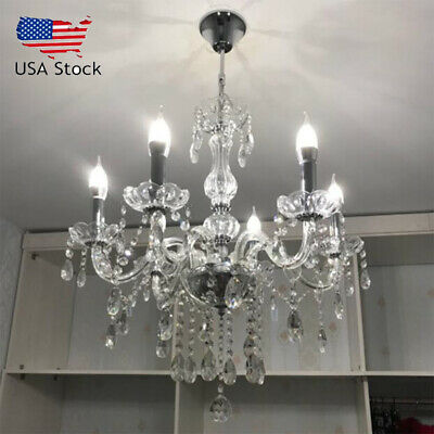 Elegant Crystal Chandelier Modern 6 Ceiling Light Lighting Pendant Fixture Lamp