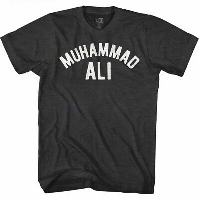 (Muhammad Ali T-Shirt Distressed Arched White Logo Black Heather Tee)
