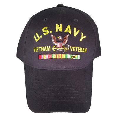 NEW U.S. Navy Vietnam Veteran with Ribbons Baseball cap hat. Navy Blue