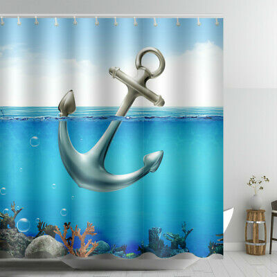Undersea World Anchor Shower Curtain Nautical Blue Sea Fabric Washable Bathroom - Nautical Shower Curtain Hooks