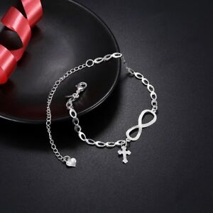 Womens 925 Sterling Silver Cross Infinity Foot Link Chain Ankle Bracelet #A01
